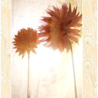 """dahlias in sun w/pattern poster print"""