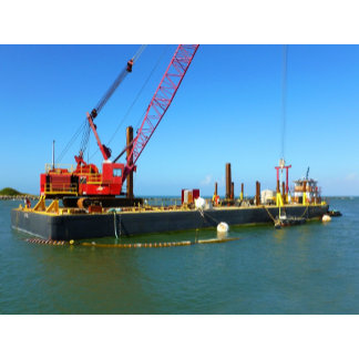 Floating Barge with crane colorful