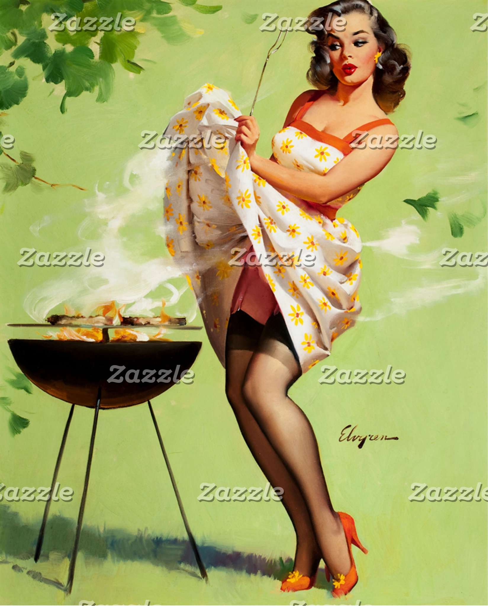 Hot Barbecue Time - Retro Pin Up Girl