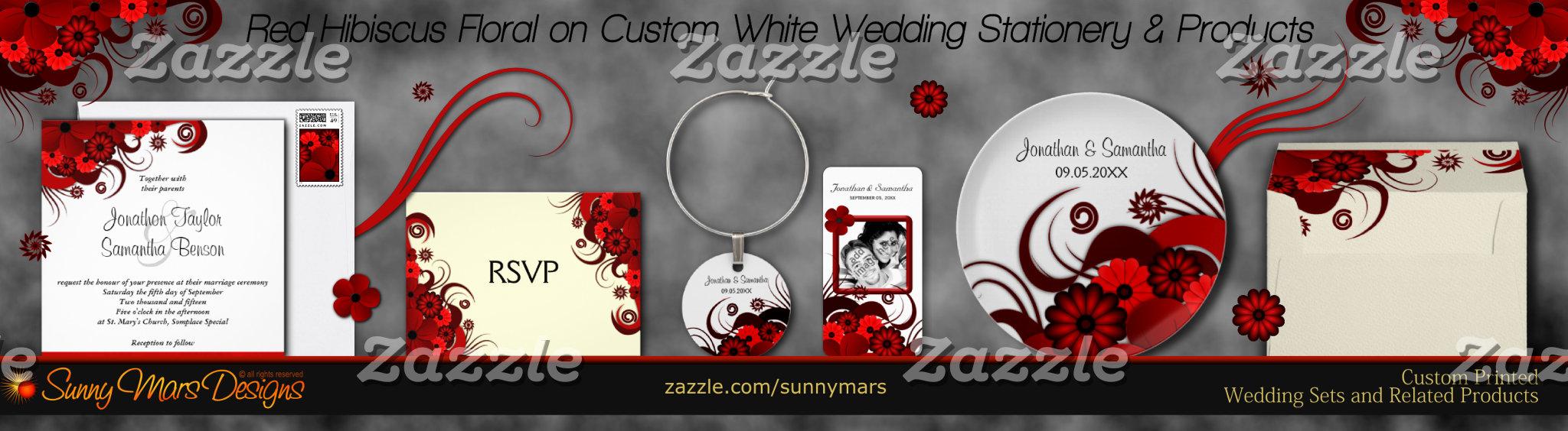 Dark Red on White Floral Hibiscus Elegant Wedding Collection Set