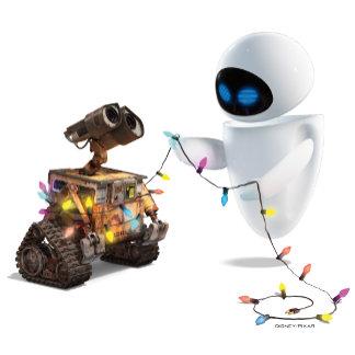 Eve and WALL-E with Christmas Lights