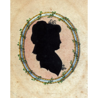 """""""Lady's Silhouette in Floral Frame Poster Print"""""""