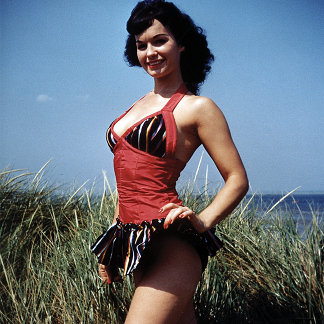 Bettie Page Vintage Pinup in Red Top + Short Skirt