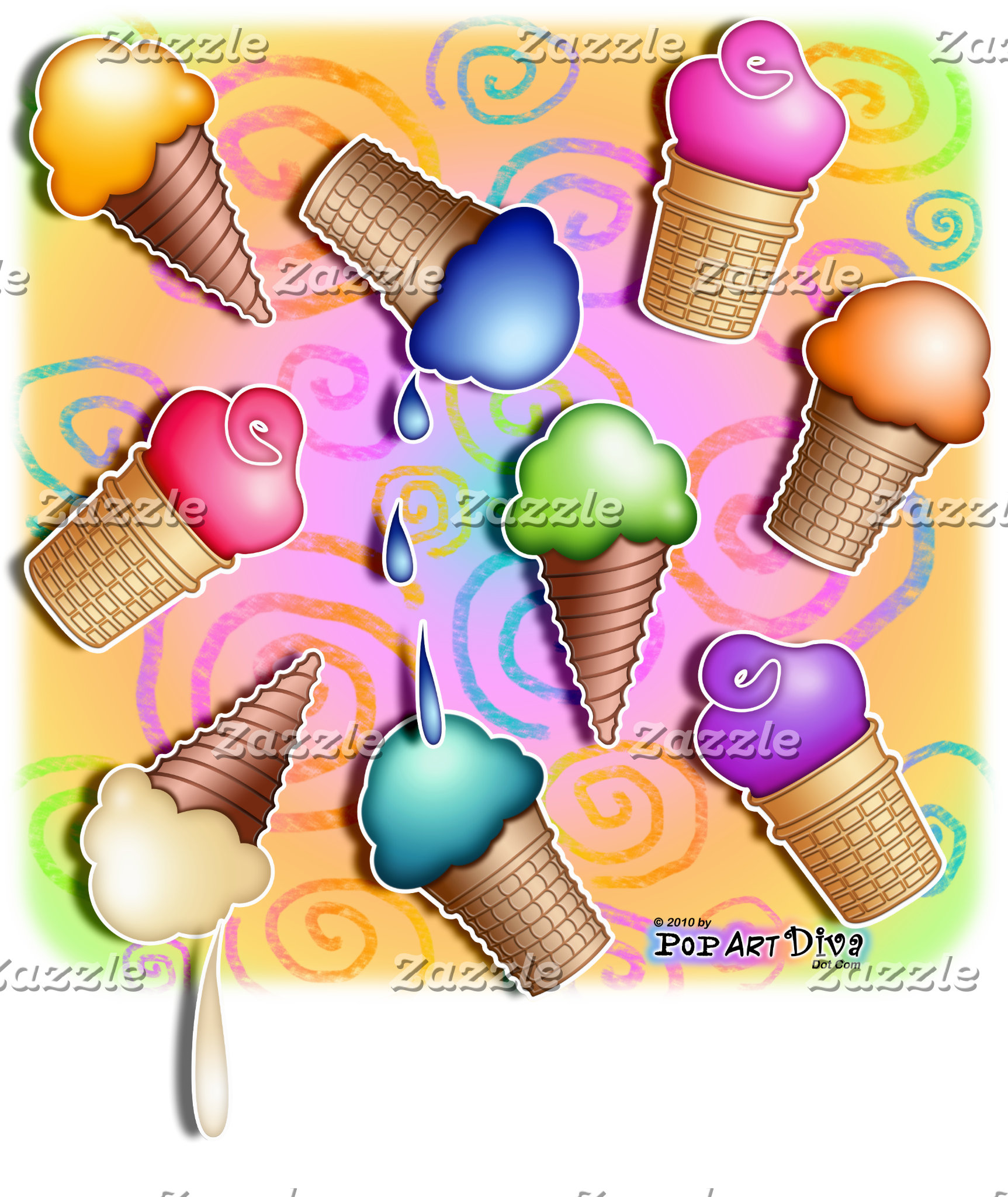 i. ICE CREAM CONE POP ART