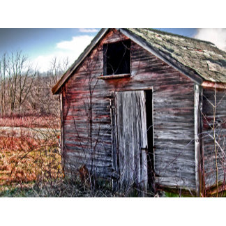 Old weathered wooden red shed