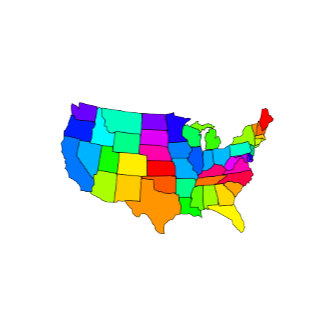 Colorful map of the United States of America
