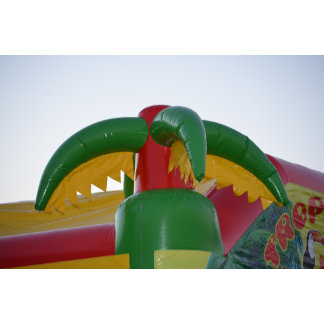 red green yellow blow up palm tree colorful design