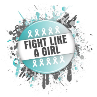 Fight Like a Girl Cool Button - Cervical Cancer