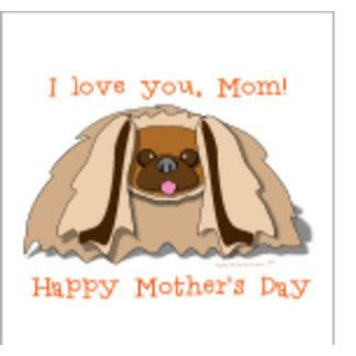 Cartoon Pekingese Dog Happy Mother's Day