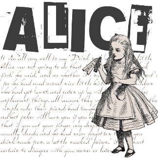 Alice In Wonderland with Drink Me Bottle Grunge