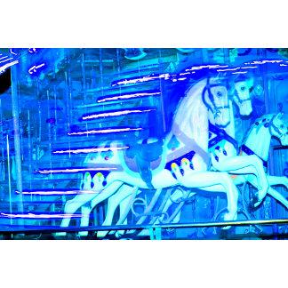 carousel horses streaked blue