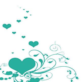 Aquamarine Valentine Hearts On A White Background