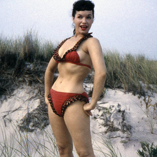 Bettie Page Vintage Pinup Model at Beach in Red