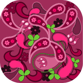 Modern Pink and Green Paisley