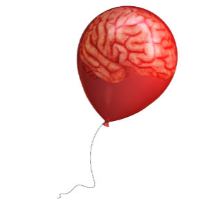 Balloon illustration with a superimposed brain