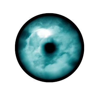 Aqua blue green eye cloudy graphic