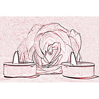 Rose, candles in pink and black posterized