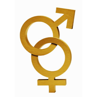Brass and female and male symbols