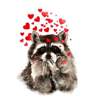 Raccoon Love Hearts