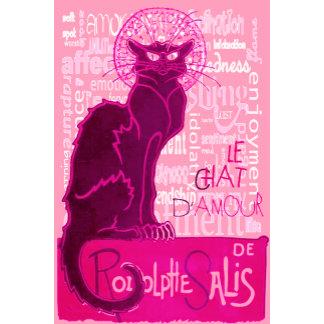 Le Chat D'Amour In Pink With Words of Love