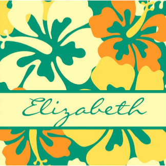 Hibiscus Floral Pattern Monogram Personalized Gifts