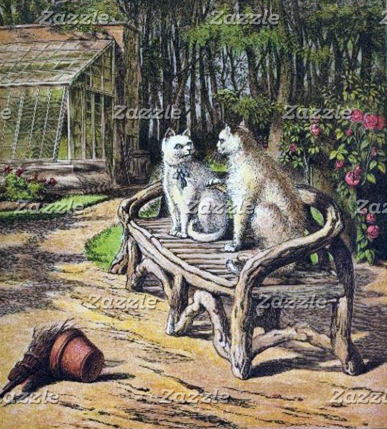 Cat Conversation (Vintage Image)