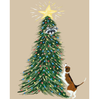 Beagle With Raccoon In Christmas Tree