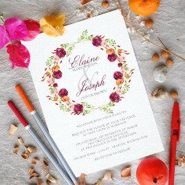 Boho Forals Wedding Invitations