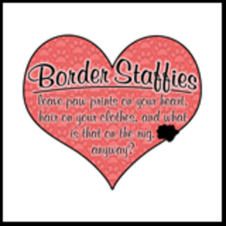 Border Staffy Paw Prints on Your Heart Humor