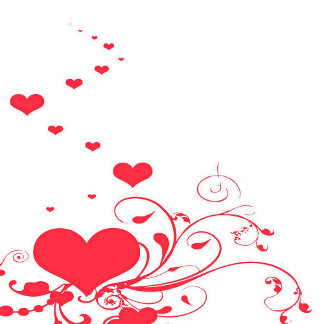 Red Valentine Hearts on A White Background