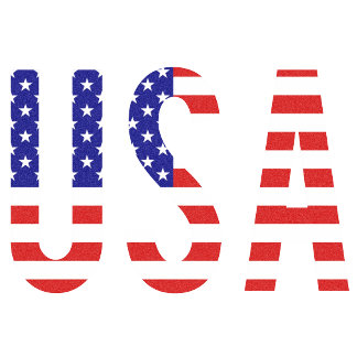 U.S.A. - in United States Flag Pattern Letters