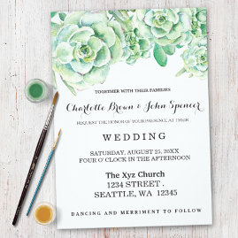 Succulent Roses Wedding Invitations