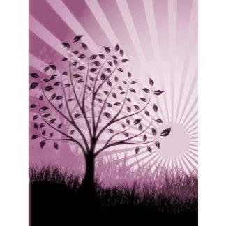 Trees, Leaves, Grass Silhouette & Sunburst Pink