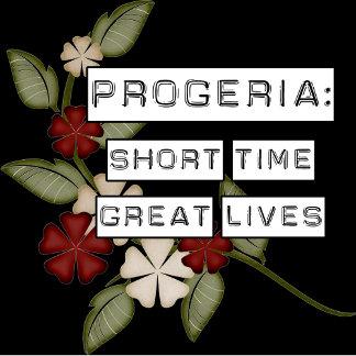 Progeria, flowers against black back