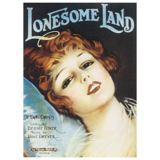 Lonesome Land - Vintage Song Sheet Music Art