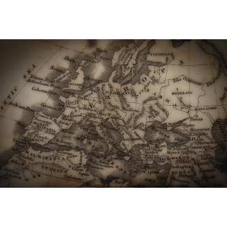 Close up of antique map of Europe