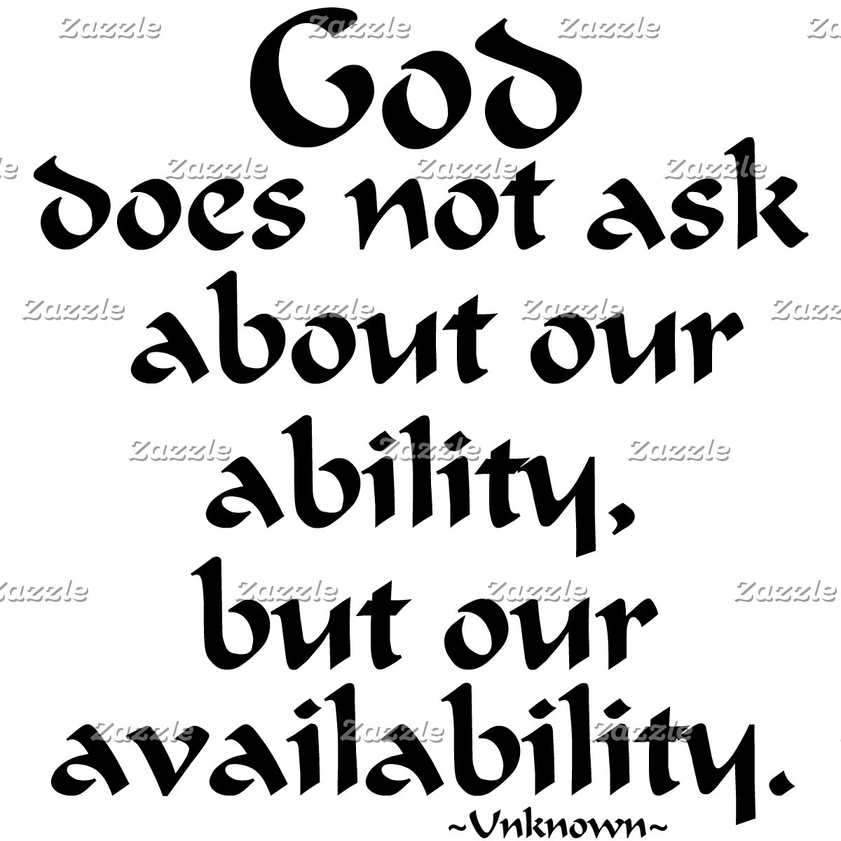 God does not ask...