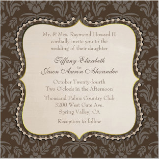 Brown Floral Damask Wedding Set