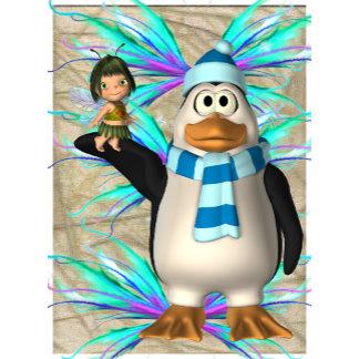 Penguin Holding Small Girl Fairy Blue Wing Backgro