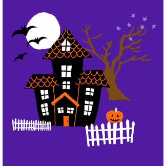 Halloween Haunted House Scene Color
