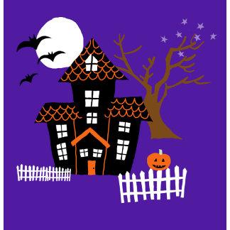 Halloween Haunted House Scene Color