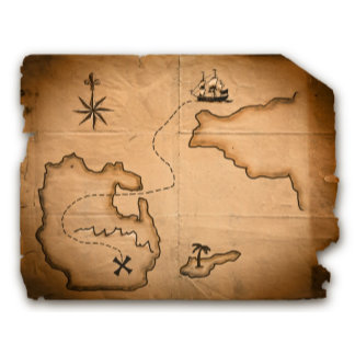 Close up of antique world map with ship route