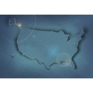 A simple blue map of the USA showing Alaska and