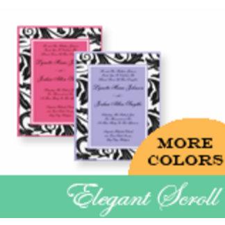 Elegant Scroll Pattern Wedding Invitations