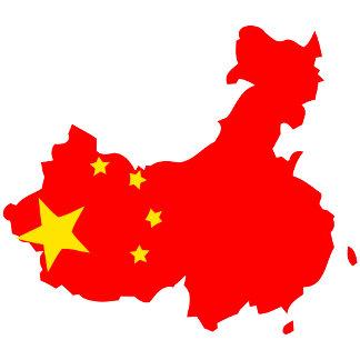 China Flag Map full size