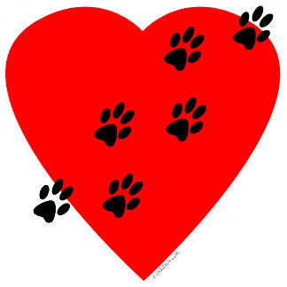 Paw Prints on my Heart - Red