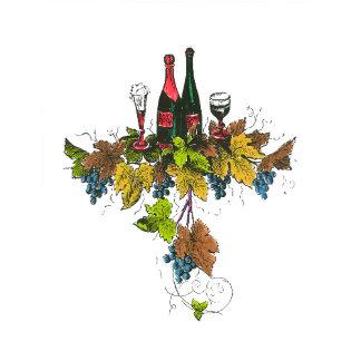 Wine Bottles On Grape Leaves, all versions