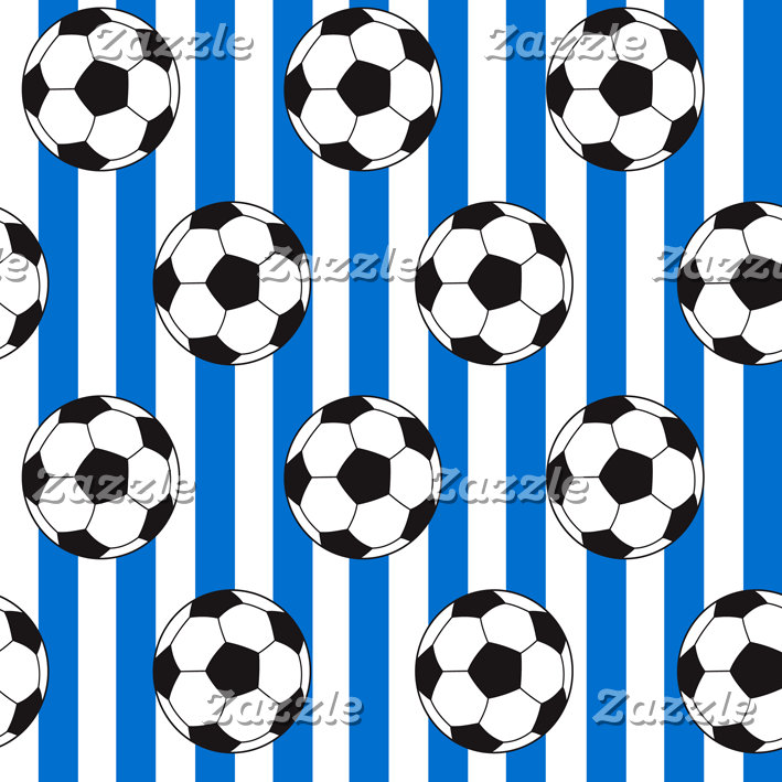 Blue Stripes And Soccer Balls