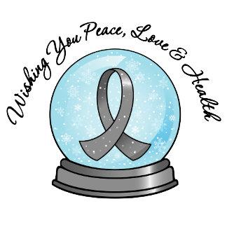 Brain Cancer Ribbon Merry Christmas Snowglobe