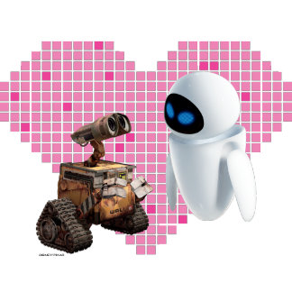 WALL-E and Eve Pixel Heart